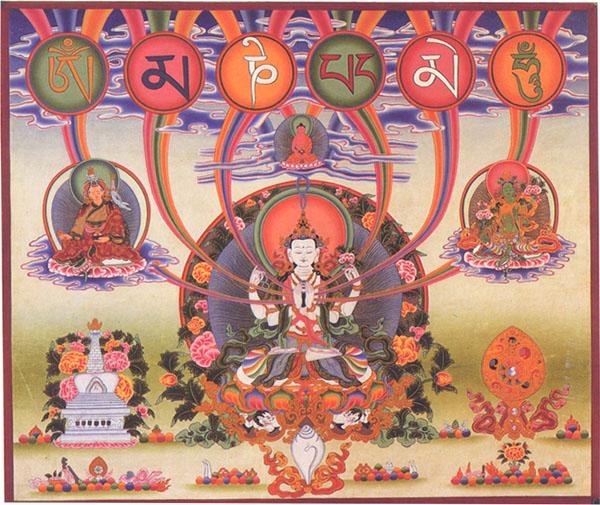 藏傳佛教 四臂觀音 心咒種子字 寶積林